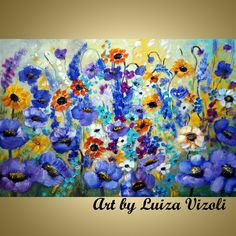 Original Modern Abstract Textured Palette Knife Impasto Flowers Landscape Painting on Gallery Canvas- WILDFLOWERS FIELD Media:oil,varnish ,acrylic, Landscape Paintings, Watercolor Paintings, Original Paintings, Acrylic Paintings, Flower Painting Canvas, Canvas Art, Painting Lessons, Texture, American Art