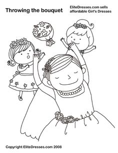 Throwing The Bouquet Wedding Coloring Page