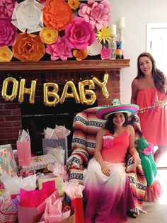 New Baby Girl Shower Themes Paper Flowers 31 Ideas Mexican Theme Baby Shower, Fiesta Baby Shower, Baby Girl Shower Themes, Baby Shower Brunch, Baby Shower Cupcakes, Baby Shower Fun, Baby Shower Parties, Baby Shower Gifts, Shower Party