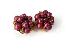 Vintage Beaded Cluster Clip On Earrings Raspberry by ChromaticWit
