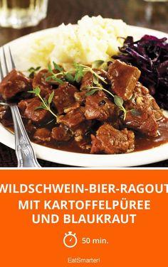 Wildschwein-Bier-Ragout mit Kartoffelpüree und Blaukraut - smarter - Zeit: 50 Min. | eatsmarter.de