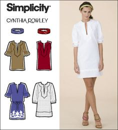 Simplicity 2584 from Simplicity patterns is a Misses Dress, Tunic and Headband Cynthia Rowley Collection sewing pattern