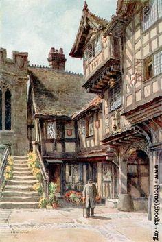 [Picture: Leycester Hospital] - Dış Mekan P. Fantasy Village, Fantasy Town, Fantasy House, Fantasy World, Medieval Houses, Medieval Life, Medieval Fantasy, Environment Concept, Environment Design