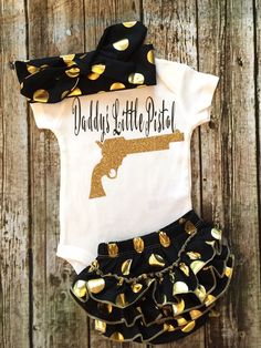 A personal favorite from my Etsy shop https://www.etsy.com/listing/279867230/baby-girl-onesie-daddys-little-pistol