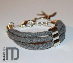 Szara bransoletka sznurków bawełnianych bransoletki mania design