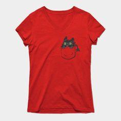 Pocket Toothless Womens V-Neck T-Shirt