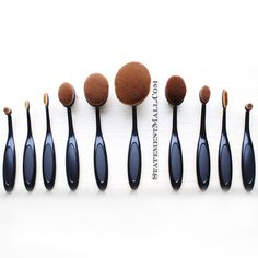 Achieve any look you want with this 10 piece makeup blending brush set. This unique oval and round shape brushes are perfect for blending foundations, blush, and powder. Oval Brush Set Highlights: - P