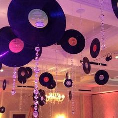 Record party. Records hanging, plus bling.