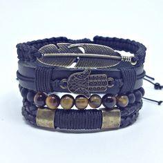 Pulseira masculina mens bracelets bracelet bracelete hamsa shambala shamballa onix leather couro