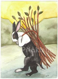 The Rabbit Tarot  Original Art   Nine of Sticks by bluedogrose, $55.00