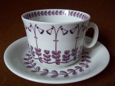 Tea cup decorated with the linnaea, named after Carl Linnaeus :)