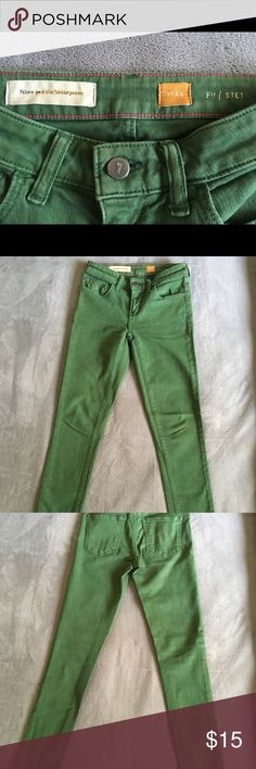 """Anthropologie Pilcro Stet skinny jeans sz. 24 Excellent condition, vintage wash forest green skinny jeans by Pilcro and the Letterpress. Size 24; 27"""" inseam. Anthropologie Jeans Skinny"""