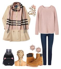 """Fall Outfit With A Scarf"" by mariacanta ❤ liked on Polyvore featuring Burberry, 7 For All Mankind, MANGO, Timberland and Accessorize"