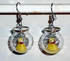 Ohrringe Ente Tier Damen Ohrschmuck Modeschmuck ohne Stein Glas Hänger