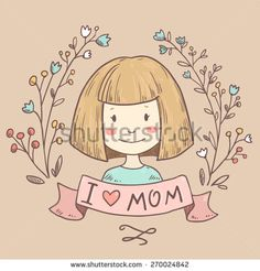 Cute vintage vector greeting card with mother. Happy mothers day. Retro abstract floral background with woman. I love mom postcard - stock vector