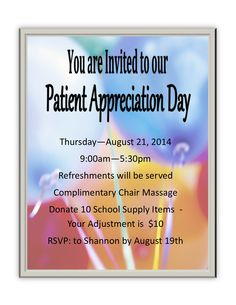 Patient Appreciation Day  - August 21 supporting the children of the area