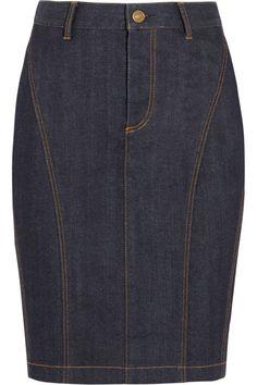 25 Fresh Takes on the Classic Denim Skirt Denim Skirt Outfits, Blue Denim Skirt, Denim Pencil Skirt, Skirt Pants, Dress Skirt, Denim Skirts, Burberry Brit, Denim Fashion, Fashion Outfits
