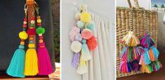 Complementos de borlas de lana Cool Diy Projects, Tassel Necklace, Macrame, Tassels, Chokers, Cool Stuff, Party, Clever, Bikini Swimwear