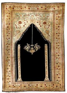 Tabriz Rugs: Antique Silk Tabriz Prayer Rug C. 1900 Lot 73
