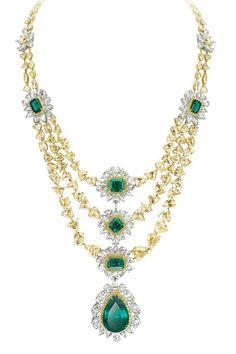 Avakian. Yellow diamond and emerald necklace