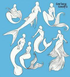 result for mermaid pose reference Drawing Sketches, Cool Drawings, Art Sketches, Drawing Ideas, Drawing Tips, Drawing Tutorials, Mermaid Pose, Mermaid Art, Manga Mermaid