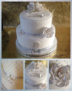A fabulous elegant Silver & white 25th silver wedding anniversary cake designed by Kitty's cupcakes Medway. Kathy has used Patchwork Cutter Quilting embosser here on the top tier and finished it with gorgeous roses. #silverwedding #cupcakes #stackedcake