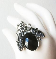 Cicada Ring  Silver and Black by Eridanea's Boutique on Etsy