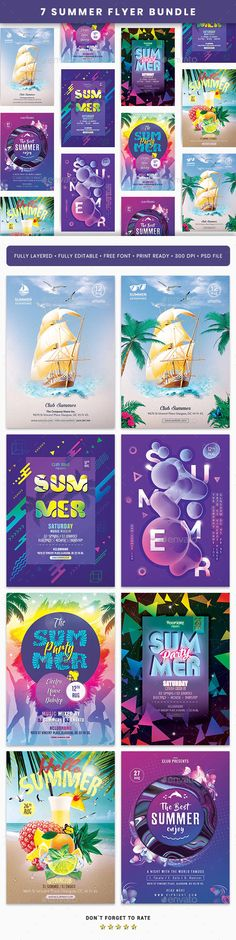 7 Summer Flyer Template Bundle - Creative Touchs - Re-Wilding Psd Flyer Templates, Email Templates, Dj Events, Event Flyers, Hello Summer, Spring Summer, Music Party, Information Graphics, Graphic Design Print