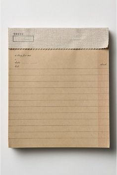 This beautiful little pad comes from Anthropologie originally but I found it on Papermode. Aged brown paper stock, linen tape binding and a column to put those much loved check marks when you've completed the tasks on you list. Lovely!  If anyone has seen these at their local Anthropolgie or owns one, can you provide some additional information? Thanks!  (via papermode)