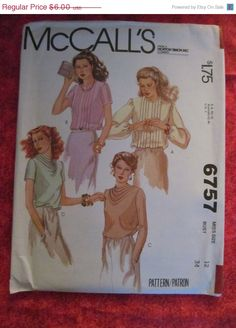 Sale UnCut 1970's McCall's Sewing Pattern 6757 by EarthToMarrs, $4.80