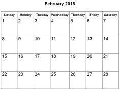 Printable Calendar February 2015 Free