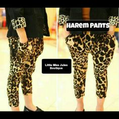 INSTAGRAM NAME: @LITTLE_MISS_JULES  HAREM LEOPARD PANTS ONLY $20.00 + FREE SHIPPING SIZES 3/4-7/8Y CONTACT DIRECT LITTLEMISSJULESBOUTIQUE@GMAIL.COM KID FASHION, HAREM PANTS, LEOPARD, GIRL STYLE, FASHION FORWARD DIVA