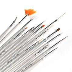 15 Nail Art Design Painting Draw Pen Polish Brush Set