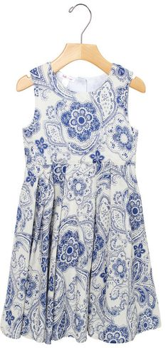 Paisley In Blue On White Cotton Dress. pretty paisley print dress in blue on white cotton dress for girls. Visit stella cove for top of the line clothing
