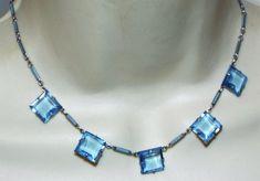 ART DECO Blue enamel & glass NECKLACE vintage costume jewelry open back #Unbranded #artdeco