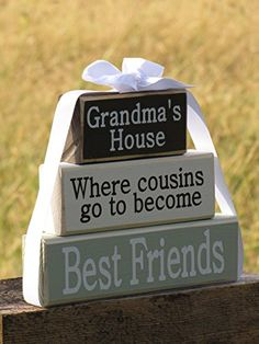 "Personalized gift for Grandma and Grandpa: ""Where cousins go to become Best Friends"" - Pregnancy announcement, Grandparent news, Christmas gift, Mother's Day gift. Solid wood stacking blocks."