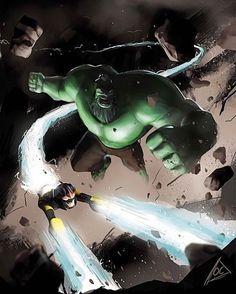 Hulk / Nova!! Art by Orphans Cheeps  #Hulk #Nova #Avengers #Marvel #MarvelComics #Comics #ConceptArt #Art #Artist #Superhero