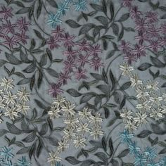 Famous NYC Designer Multicolor Floral Embroidered Organza