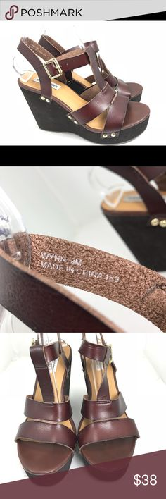Steve Madden Wynn brown t-strap Wedge Sandals 9 These are preowned and have some wear, marks, and scratches. Please see all photos. Steve Madden Shoes Sandals