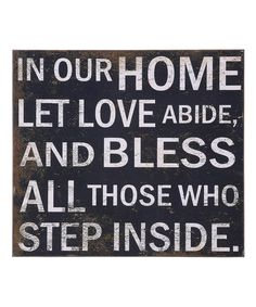 'In Our Home' Wall Sign on #zulily! #zulilyfinds