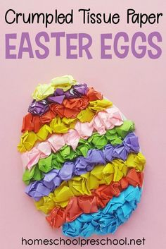 These textured tissue paper Easter eggs are adorable! This easy preschool Easter craft uses just a few craft supplies that you've already got on hand. crafts preschool How to Make a Tissue Paper Egg Preschool Easter Craft Easter Crafts For Kids, Toddler Crafts, Preschool Crafts, Diy For Kids, Tissue Paper Crafts, Glue Crafts, Hand Crafts, Felt Crafts, Easter Activities