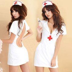 Sexy Cut Out Back Nurse Costume includes nurse head piece and mini dress with… Nurse Halloween Costume, Sexy Nurse Costume, Cute Girl Dresses, Sexy Dresses, Jolie Lingerie, Women Lingerie, Edm Outfits, School Girl Outfit, Sexy Party Dress