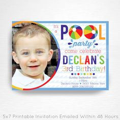 Items similar to Primary Blue Red Yellow Beach Ball Birthday Pool Party Printable Invitation YOU Print with photo on Etsy Beach Ball Birthday, Beach Ball Party, Ball Birthday Parties, 3rd Birthday, Photo Invitations, Printable Invitations, Party Printables, Kid Names, Invite