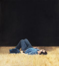 Available for sale from Pace Gallery, Tim Eitel, Man Lying in Grass Oil on canvas, 210 × 190 cm Museum Of Contemporary Art, Contemporary Paintings, New Leipzig School, Men Lie, Collage Techniques, Edward Hopper, Pictures To Paint, Moleskine, Figure Painting