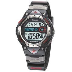 Boys Watches LCD Digital Watches Waterproof 100M Fashion Unisex Sports Watches with Resin Strap Black Red * Visit the image link more details. (Note:Amazon affiliate link)
