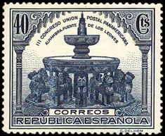 Fountain of the Patio of Lions in the Alhambra, Granada, (Panamerican Postal Union Congress) . Postage Stamps, Fountain, Taj Mahal, Europe, Patio, Gallery, World, Art, Lion