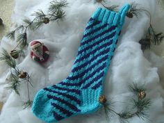 Christmas Stocking - Candy Cane Stripe - Aqua with Navy Stripes - Hand Knit - Original Candy Cane Pattern Created by Me - FUNKY
