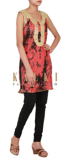 Buy Online from the link below. We ship worldwide (Free Shipping over US$100) http://www.kalkifashion.com/rust-and-black-kurti-with-batik-print-enhanced-with-gotta-patti-cut-work-embroidery-only-on-kalki.html