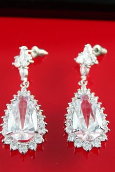 Bridal Vintage Party Earrings - White Cubic Zirconia 18K White Gold Plated in Jewelry & Watches | eBay