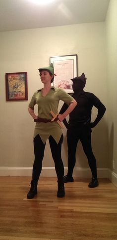 Awesome Peter Pan and shadow Two Person Halloween Costumes, Couples Halloween, Clever Halloween Costumes, Creative Halloween Costumes, Halloween 2014, Halloween Outfits, Cool Costumes, Cosplay Costumes, Halloween Party